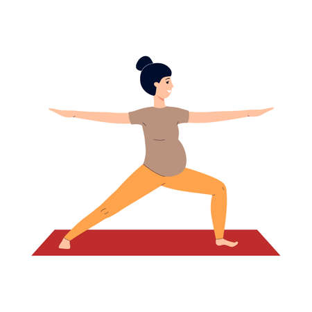 Pregnant woman does prenatal yoga on a mat. Sports and fitness during pregnancy. The concept of a healthy lifestyle. Flat vector illustration isolated on a white background. 矢量图像