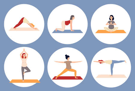 Circle banners or frames with cartoon characters of pregnant women doing yoga asanas, flat vector illustration isolated on blue background. Pregnancy yoga stickers.