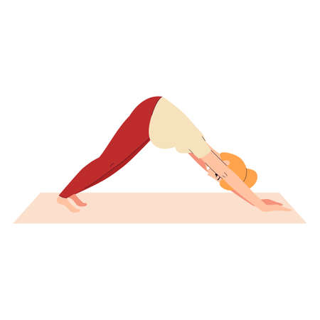 Pregnant woman practicing yoga asana for healthy childbirth, flat vector illustration isolated on white background. Healthy baby expecting and pregnancy yoga workout.