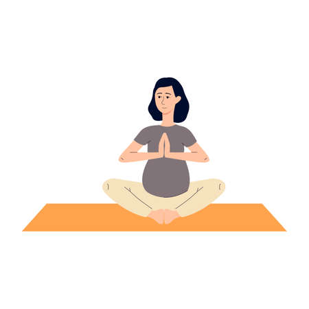 Young pregnant woman sitting in lotus position doing pregnancy yoga to give birth easily. Female fitness practice, flat cartoon vector illustration white background