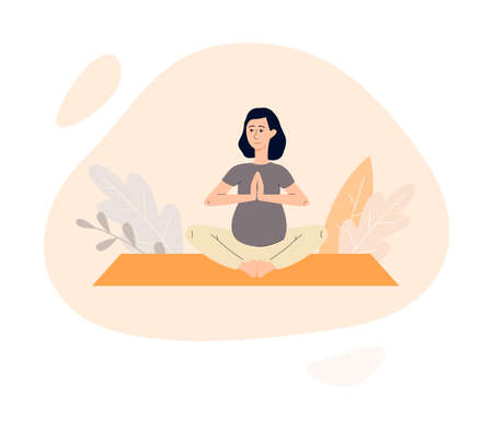 Pregnant woman practicing yoga for relaxation and wellbeing, flat vector illustration isolated on white background. Healthy pregnancy and maternity concept.