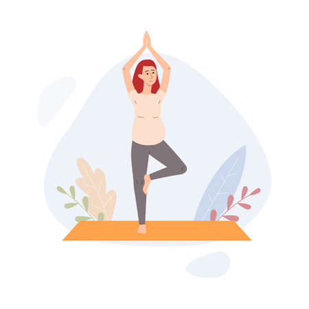 Young pregnant woman doing special pregnancy yoga for keeping fit. Practicing yoga to give birth easily, flat cartoon vector illustration white background 矢量图像