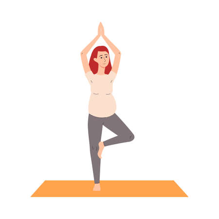 Pregnant woman standing in balance yoga pose, flat vector illustration isolated on white background. Prenatal yoga workout or sport training for pregnant. 矢量图像
