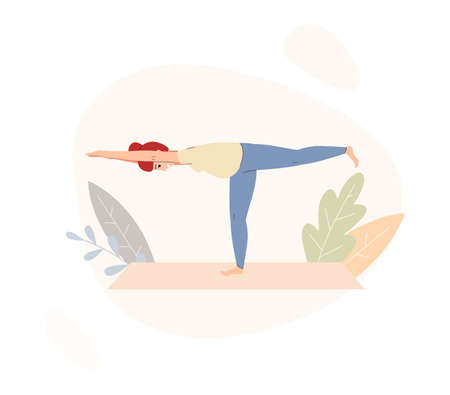 Pregnant healthy woman doing yoga balance pose, flat vector illustration isolated on white background. Yoga workout and sports exercises during pregnancy. 矢量图像