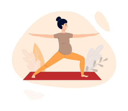 Pregnant woman standing in yoga asana, flat vector illustration isolated on white background. Healthy pregnancy and maternity, childbirth and motherhood.