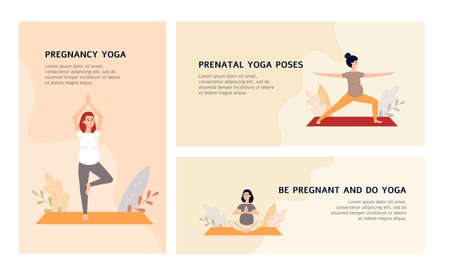Yoga workout for pregnant web banners set, flat vector illustration. Responsive design collection for pregnancy yoga classes with cartoon pregnant women.