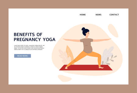 Website or landing page banner template on topic of healthy childbirth and motherhood with pregnant woman doing yoga, flat vector illustration on white background.