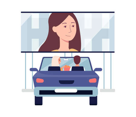 Open car cinema. A young couple or family man and woman are watching a movie film outdoor. A romantic date. Vector flat illustration