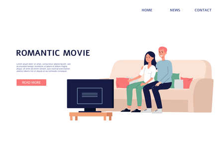 Web banner or landing page template with couple watching romantic movie, flat vector illustration. Home cinema or cable television channel website interface.