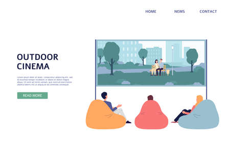 Open air cinema. Friends rest outdoor watching a movie film at big screen. Vector flat illustration. Landing page template.