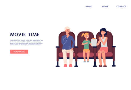 Movie time website header banner template with cartoon people watching movie. Landing page mockup for cinema theater and home cinema site, flat vector illustration.  イラスト・ベクター素材