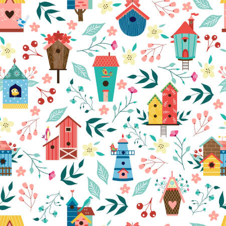 Set and ornament of colorful birdhouses in different constructions. Birds homes and flowers for living and eating, flat cartoon vector illustration white background