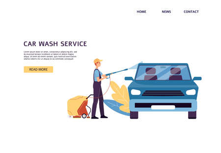 Car washing service website banner mockup with cartoon man doing manual car wash with water, flat vector illustration. Employee of wash cleaning car outside.