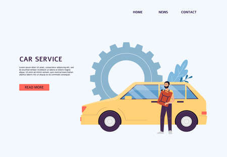 Car service website or landing page template with auto mechanic male character, flat vector illustration. Background for web banner of car repair and maintenance.