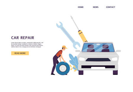 Car service website page with repairman cartoon character near car, flat vector illustration. Landing page for car maintenance and condition diagnostics.  イラスト・ベクター素材