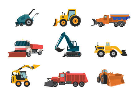 A set of snow plows. Removal equipment for cleaning road in winter snowfall season. Special industrial and municipal vehicles. Vector isolated illustrations.