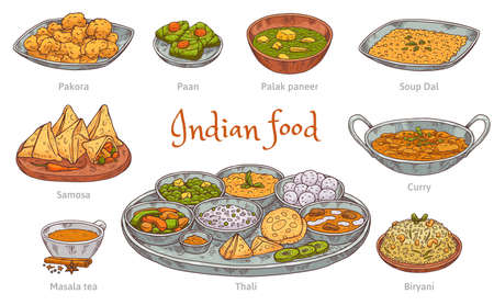 Set of indian food colorful icons in hand drawn engraved style vector illustration isolated on white background. Indian cuisine traditional dishes and drinks.