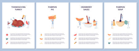 Set of cards or web banners with autumn recipes of Thanksgiving or Halloween meals, flat vector illustration on white background. Ingredients of festive autumn dinner.