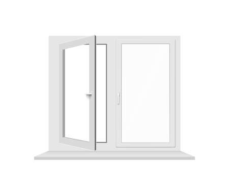 3D plastic window with white frame, transparent glass, windowsill, adjustment handles and open sash. Realistic isolated illustration.