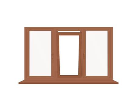 Realistic 3D glass window with brown plastic or wooden frame, windowsill, adjustment handles and open sash. Vector illustration isolated on a white background