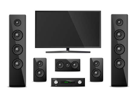 Set templates of home cinema theater stereo and audio system electronic equipment with plasma TV display, realistic vector illustration isolated on white background.