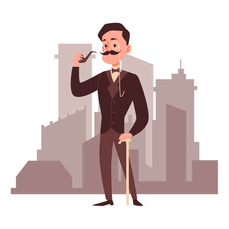 Old fashioned vintage gentleman cartoon character smoking pipe standing at backdrop of city buildings, flat vector illustration isolated on white background.