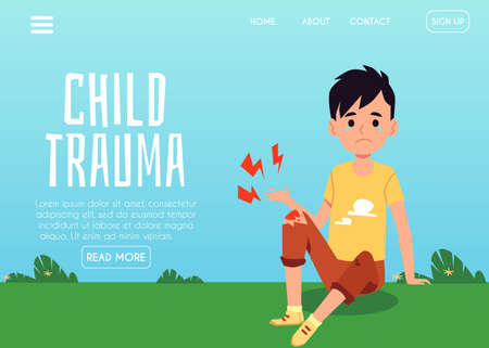 Child trauma website banner template with injured child cartoon character, flat vector illustration. Webpage for children traumatology and emergency treatment. Vecteurs