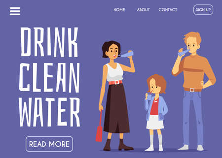 Web site banner interface with header calling to drink clean water and drinking people characters, flat vector illustration. Pure mineral natural water distribution.