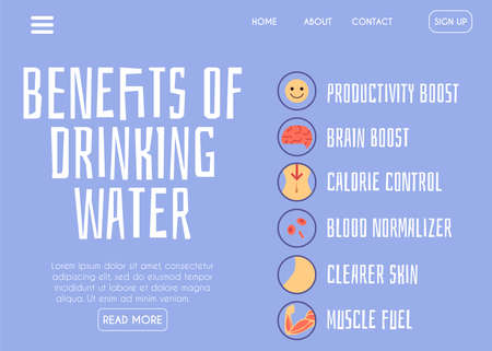 Information about the benefits and functions of clear drinking water in the human body. Healthy lifestyle. Banner with infographics and text. Vector flat illustration Ilustração