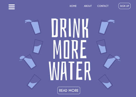 Website banner template with header calling to drink more water, flat vector illustration on blue background. Pure drinking and mineral water retailing landing page.