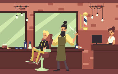 Barbershop rude interior with brick walls and working barber cartoon character, flat vector illustration. Male hairdressing and barber salon with client and staff. Ilustração