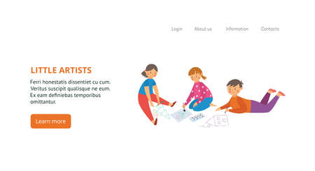 Banner or flyer for kids creative art classes with little artists drawing all over, flat vector illustration. Drawing and painting lessons for children ad.