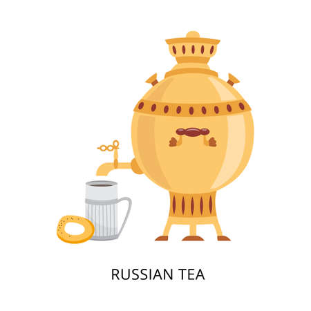 Russian tea card with samovar the big teapot for tea brewing, flat vector illustration isolated on white background. Traditional national ceremony of tea drinking.