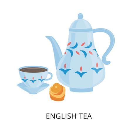 English tea card with porcelain tea set, flat vector illustration isolated on white background. Traditional english national ceremony of tea drinking and brewing.