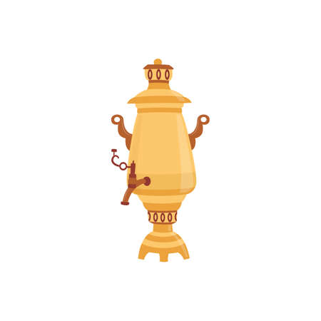 Russian tea samovar cartoon icon, flat vector illustration isolated on white background. Traditional russian national big vessel for ceremony of tea drinking.