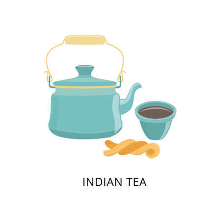 Kettle with traditional Indian tea, tea cup and pastry. The national hot drink in India. Flat vector illustration isolated on a white background.