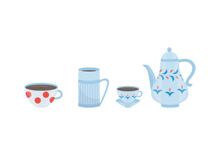 Porcelain coffee or tea set with teapot and cups, flat vector illustration isolated on white background. Collection utensils for tea drinking and brewing. Illusztráció