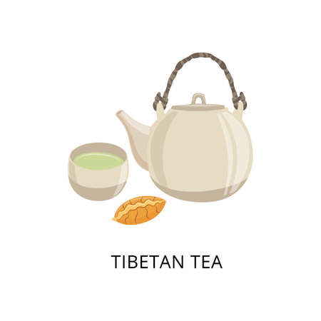 Tibetan tea card with teapot and bowl for tea drinking, flat vector illustration isolated on white background. Tibetan and nepal traditional ceremony of tea brewing.
