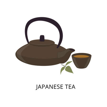 Utensil for Japanese ceremony of tea drinking, flat cartoon vector illustration isolated on white background. Stone ceramic pot and cup the crockery for tea brewing.