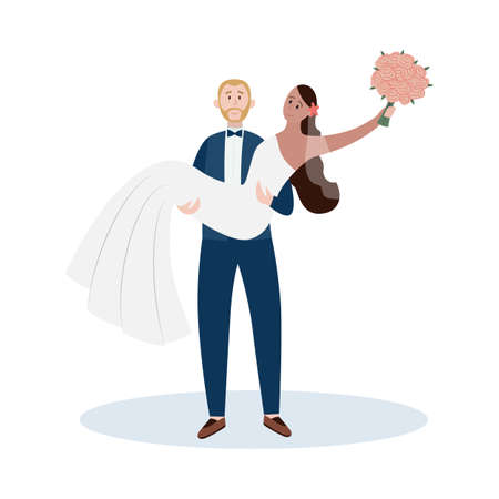 Happy couple of young man and woman getting married, flat vector illustration isolated on white background. Cheerful bride and groom cartoon characters in wedding day.