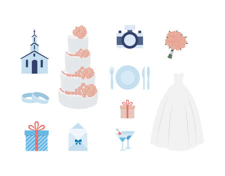 Set of symbols for wedding ceremony planning. Festive event in church with wedding dresses and bouquet, rings and gifts, invitation and camera. Vector flat isolated illustration Çizim