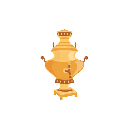 Russian big golden metal samovar teapot, flat vector illustration isolated on white background. Element of utensils for Russian tradition of tea drinking.