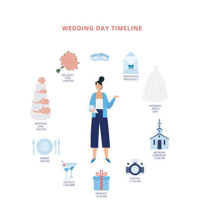 Card with woman a wedding planner and infographics for wedding day. Organizer the marriage ceremony listings the timeline of bridal events. Vector flat illustration Çizim