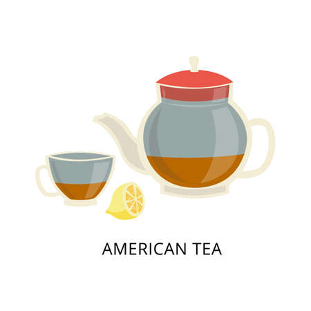 American tea drinking and brewing tradition card, flat vector illustration isolated on white background. Glass teapot and tea cup with catted lemon.