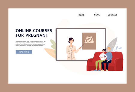 Online courses for pregnant website banner template with married couple getting distance online training on topic of childbirth, flat vector illustration. 矢量图像