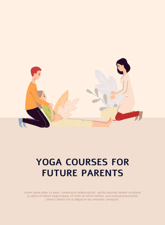 Yoga course for future parents poster or promo banner template with couple getting professional assistance for preparing to childbirth, flat vector illustration.