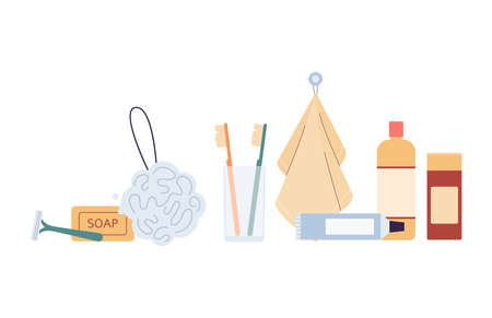 Bath and shower supplies and body care accessories standing in row, flat vector illustration isolated on white background. Cosmetic and hygiene products.