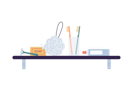 Bathroom shelf with hygiene supplies standing in row, flat vector illustration isolated on white background. Set of bath or accessories for body care and shower.
