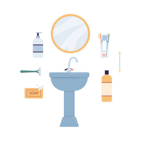 Bathroom sink basin with hygienic accessories for bathing, flat vector illustration isolated on white background. Face washing and shaving supplies and cosmetics. Stock Illustratie
