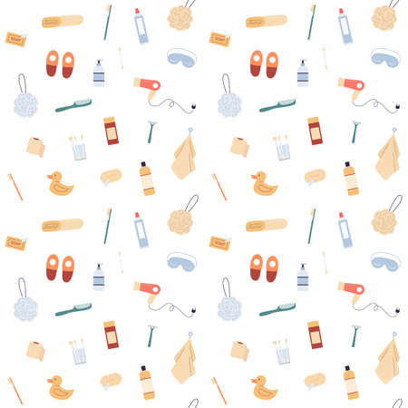 Repeatable texture of seamless pattern with bathroom body care cosmetic products, flat vector illustration. Endless pattern with spa and bath symbols on white background. Stock Illustratie